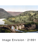 #21891 Historical Stock Photography Of The Midland Railway Headstone Viaduct Crossing The Wye River In Monsal Dale Derbyshire England