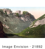 #21892 Historical Stock Photography Of Peveril Castle Ruins On The Hilltop In Castleton Derbyshire England