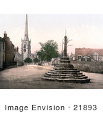 #21893 Historical Stock Photography Of The Market Cross St Wystan'S Church And Repton School In Derbyshire England