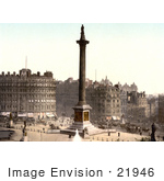 #21946 Stock Photography Of The Statues Water Fountains And Nelson'S Column In Trafalgar Square London England