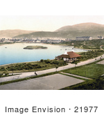 #21977 Stock Photography Of Tennis Courts And Hotels Around The Mooragh Park Lake In Ramsey Isle Of Man England