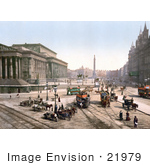 #21979 Stock Photography Of Trams And Horse Drawn Carriages On Lime Street At St George'S Hall In Liverpool England
