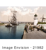 #21982 Stock Photography Of Steamboat Tugging A Ship Past The Pier And Windmill In Littlehampton Arun West Sussex England Uk