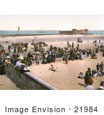 #21984 Stock Photography Of The Perch Rock Lighthouse Battery Fort And People On The Beach In Liverpool Merseyside England
