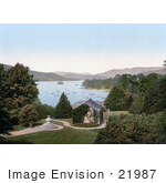#21987 Stock Photography Of A View Of The Gardens And Boats On The Lake From Belsfield Hotel Windermere Cumbria Lake District England