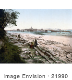 #21990 Stock Photography Of People On The Beach Near The Pier In New Brighton Liverpool Merseyside England