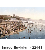 #22063 Stock Photography Of Portable Changing Cabin Carts And Crowds On The Beach In Ramsgate Thanet Kent England