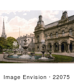 #22075 Stock Photography Of A Water Fountain In Front Of Government Buildings In Southport Sefton Merseyside England Uk