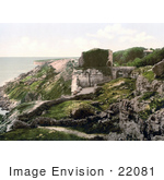 #22081 Stock Photography Of The Ruins Of Rufus Castle On The Coast Over Church Ope Cove Isle Of Portland Dorset England
