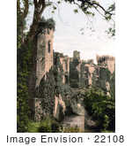 #22108 Stock Photography Of The Ruins Of The Raglan Castle Or Castell Rhaglan Covered In Ivy Monmouthshire Wales England