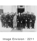 #2211 President And Mrs Coolidge With Military Aides