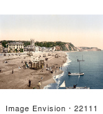 #22111 Historical Stock Photography Of Bathing Saloon Carts On The Beach At Teignmouth Teignbridge Devon England Uk