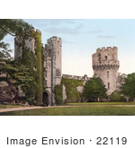 #22119 Historical Stock Photography Of The Clock Tower Gateway On The Interior Of The Warwick Castle In Warwick Warwickshire England Uk
