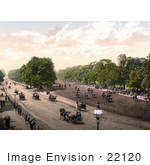 #22120 Historical Stock Photography Of Horse Drawn Carriages And People Riding Horses At Rotten Row In London England