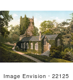 #22125 Historical Stock Photography Of The Ivy Covered Church In Cockington Torquay Torbay Devon England Uk