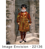 #22136 Historical Stock Photography Of A Yeomen Warder Beefeater Guard In A Red Uniform In London England