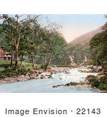 #22143 Historical Stock Photography Of The Refreshment House By The Water Watersmeet Lynton And Lynmouth Devon England