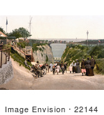 #22144 Historical Stock Photography Of People On The Bridge And Road At The Gap In Margate Thanet Kent England Uk