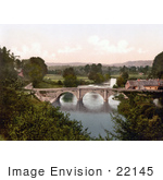 #22145 Historical Stock Photography Of The Dinham Bridge Over The River Teme In Ludlow Shropshire England Uk