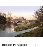 #22152 Historical Stock Photography Of A Bridge Crossing The Eamont River By The Brougham Castle Ruins Near Penrith Cumbria England Uk