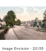 #22155 Historical Stock Photography Of People Strolling Down The Sidewalk In Guildhall Square Tavistock West Devon England Uk