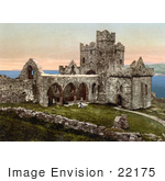#22175 Historical Stock Photography Of The Original Peel Cathedral In Ruins In Peel Isle Of Man England