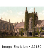 #22180 Historical Stock Photography Of Ivy Growing On The Founder'S Tower And Cloisters Of Magdalen College Oxford England