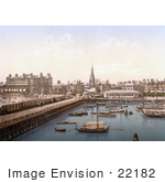 #22182 Historical Stock Photography Of Boats In The Inner Harbour At Lowestoft Waveney Suffolk East Anglia England Uk