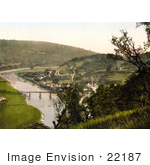 #22187 Historical Stock Photography Of The Bridge Over The River Wye And The Ruins Of The Abbey In Tintern Monmouthshire Wales England Uk