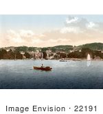#22191 Historical Stock Photography Of A Man In A Rowboat In Bowness-On-Windermere Cumbria England Uk