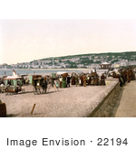 #22194 Historical Stock Photography Of Vendor Carts On The Beach At Weston-Super-Mare North Somerset England Uk
