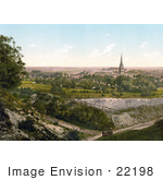 #22198 Historical Stock Photography Of A Man Lying On The Grass And Viewing The City Of Salisbury Wiltshire England Uk