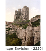 #22201 Historical Stock Photography Of The Ruins Of Scarborough Castle In Scarborough North Yorkshire England Uk