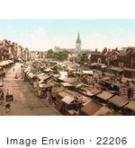 #22206 Historical Stock Photography Of The Bustling Market In Yarmouth Norfolk England Uk