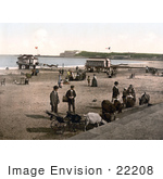 #22208 Historical Stock Photography Of Donkeys People And Changing Saloons On The Shore In Weymouth Dorset England Uk