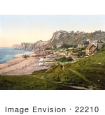 #22210 Historical Stock Photography Of Boats Near Beachfront Houses On The Steephill Cove In Ventnor Isle Of Wight England Uk
