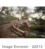 #22213 Historical Stock Photography Of People On The Beggar'S Bridge Over The Esk River In Glaisdale North Yorkshire England Uk