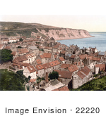 #22220 Historical Stock Photography Of Houses On Robin Hood'S Bay In Bay Town Whitby North Yorkshire England Uk