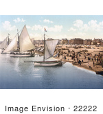 #22222 Historical Stock Photography Of Yachts Starting Off From The Beach In Yarmouth Norfolk England Uk