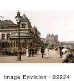 #22224 Historical Stock Photography Of People Strolling On The Promenade At The Spa In Scarborough North Yorkshire England Uk