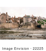 #22225 Historical Stock Photography Of Waterfront Houses On Robin Hood'S Bay In Bay Town Whitby North Yorkshire England Uk