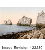 #22230 Historical Stock Photography Of The Lighthouse On The Needles On The Alum Bay Isle Of Wright England Uk