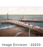 #22233 Historical Stock Photography Of The Twin Piers In Whitby North Yorkshire England United Kingdom