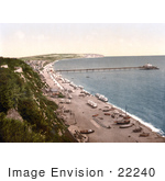 #22240 Historical Stock Photography Of Boats And Changing Saloon Carts On The Beach Near The Pier In Sandown Isle Of Wight England Uk