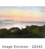 #22243 Historical Stock Photography Of Sheep On A Cliff Above A Lake At Sunset In England