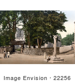 #22256 Historical Stock Photography Of Children Playing Near St Alkelda'S Church In Giggleswick North Yorkshire England Uk