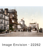 #22262 Historical Stock Photography Of Horse Drawn Carriages On A Street Near Hotels In Ryde Isle Of Wight England Uk