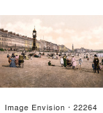 #22264 Historical Stock Photography Of People Enjoying The Beach By The Jubilee Clock Tower In Weymouth Dorset England Uk