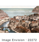 #22272 Historical Stock Photography Of The Roxby Beck River Through The Village Of Staithes In North Yorkshire England Uk
