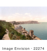 #22274 Historical Stock Photography Of A View Of Scarborough From The South Cliff Promenade North Yorkshire England Uk